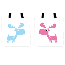 Blue And Pink Deers Tote Bags Two Pieces Double Sided Printing Handle Shopping Canvas Bag For Couple Lovers Valentine's Day Gift(China)