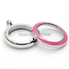 Free shipping!New Large 30mm round rose red Draw glaze screw stainless steel Living Locket With Floating Glass Lockets(China)