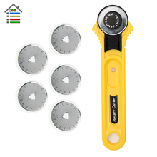 AUTOTOOLHOME 28mm Rotary Cutter With More 5pc Blades Sewing Quilting Craft Tool Cut off Fabric Paper Vinyl Patchwork Leather