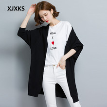 XJXKS 2017 sweater cashmere long cardigan coat female knitted loose autumn and winter thick bat shirt sweater for women(China)