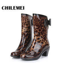 High Quality Spring Autumn Rain Shoes Rain Boot Women Korea Fashion Waterproof Rubber Boot Butterfly Knot Mif Calf Anti Skid