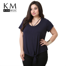 Buy Kissmilk 2017 Big Size Fashion Women Clothing Sexy Casual Solid Basic T-shirt O-Neck Tied Loose Plus Size T-shirt 4XL 5XL 6XL for $10.19 in AliExpress store