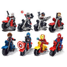 Wow!!! New Arrival 8pcs/lot Super Hero Ride Motorcycle Building Blocks Toy Kids Favorite Gifts Wholesale