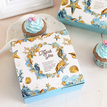 Small Size Sea Shell Mid Autumn Festival Mooncake Box Package Cookie Biscuit Gift Box Dessert Pastry Cake Box(China)