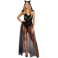 2017 New Sexy Fashion Women Halloween Bodycon Hooded Jumpsuit Pretty Kitty Cat V-Neck Party Costume Cosplay Black