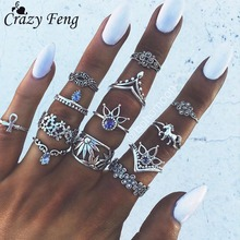 Crazy Feng Bohemian Punk Crystal Jewerly Rings 13Pcs/Lot For Women Antique Silver Horse Flower Inifinite Ring Set Anillos Corona(China)
