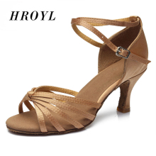 Hot sales Satin/PU Women Latin dancing shoes Ballroom dancing shoes heeled 7CM(China)