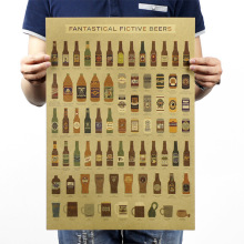 1 pcs Kraft paper poste beer Encyclopedia of evolutionary history chart bar decoration kitchen wall sticker Retro Vintage Poster