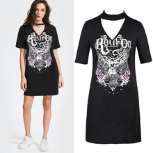 2017 Amazon Ebay Wish Black Eagle Motorcycle Printing Halter Sexy T Pity Dress
