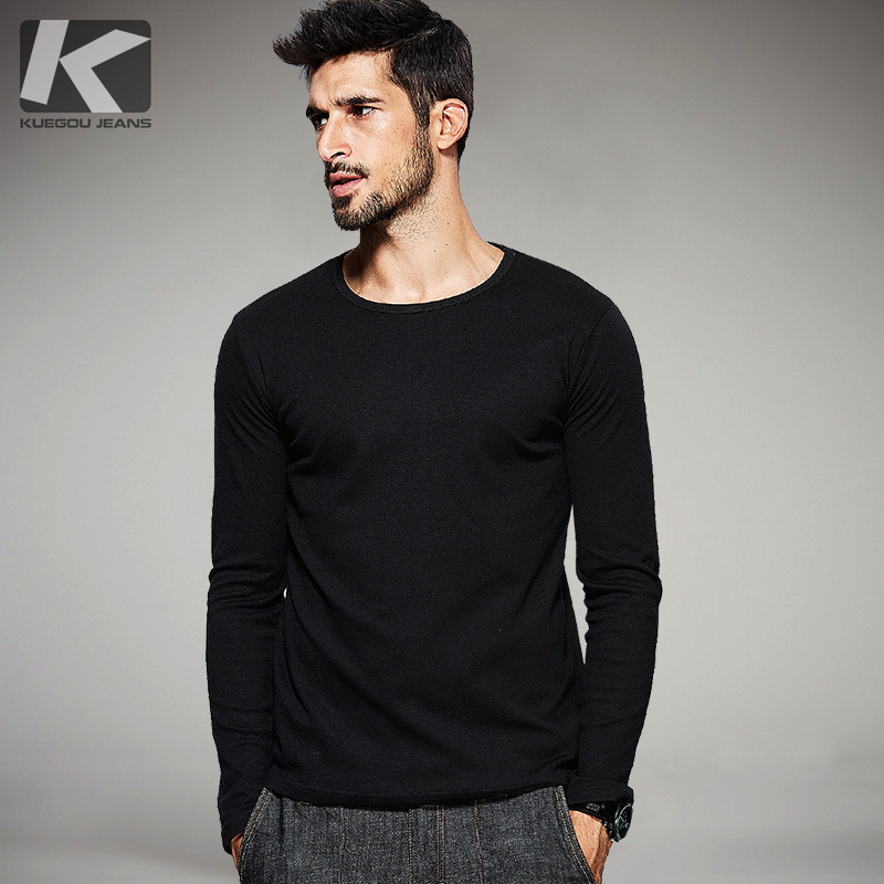 KUEGOU Autumn Mens Casual T Shirts 5 Solid Brand Clothing O-neck Long Sleeve Man's Slim T-Shirts Clothes Tops Tees Plus Size 801