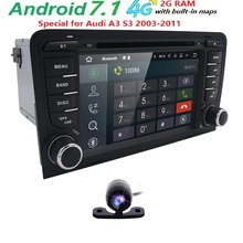 7''QuadCore Android 7.1 Radio Car DVD Player 2 din for Audi A3 S3 2003 2004 2005 2006 2007 2008-2011 GPS Navigation SWC DVR DVBT