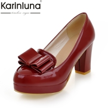 Buy Karinluna 2018 Red Slip Round Toe Bowtie Women Shoes Woman Chunky high-heeled Girls Pumps Fashion Shoe Size 34-39 for $25.84 in AliExpress store