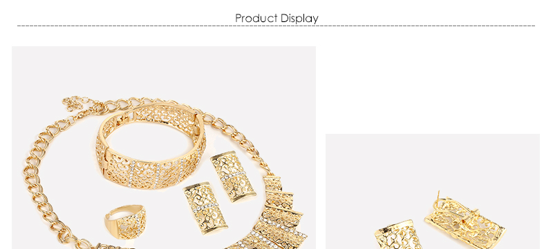 AYAYOO Jewelry Sets For Women Fashion African Beads Jewelry Set Nigerian Wedding Big Gold Color Costume Dubai Jewelry Sets (1)