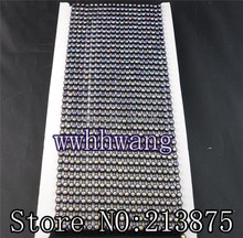 Free shipping 10Yard SS12 AAA Grade AB Crystal glass Rhinestones Banding Trim Black Plastic chain bottom Wedding dresses