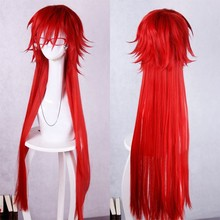 Anime Black Butler Grell Sutcliff 100cm Long Red Cosplay Wig Heat Resistent Hair Wigs Not Include Accessories(China)