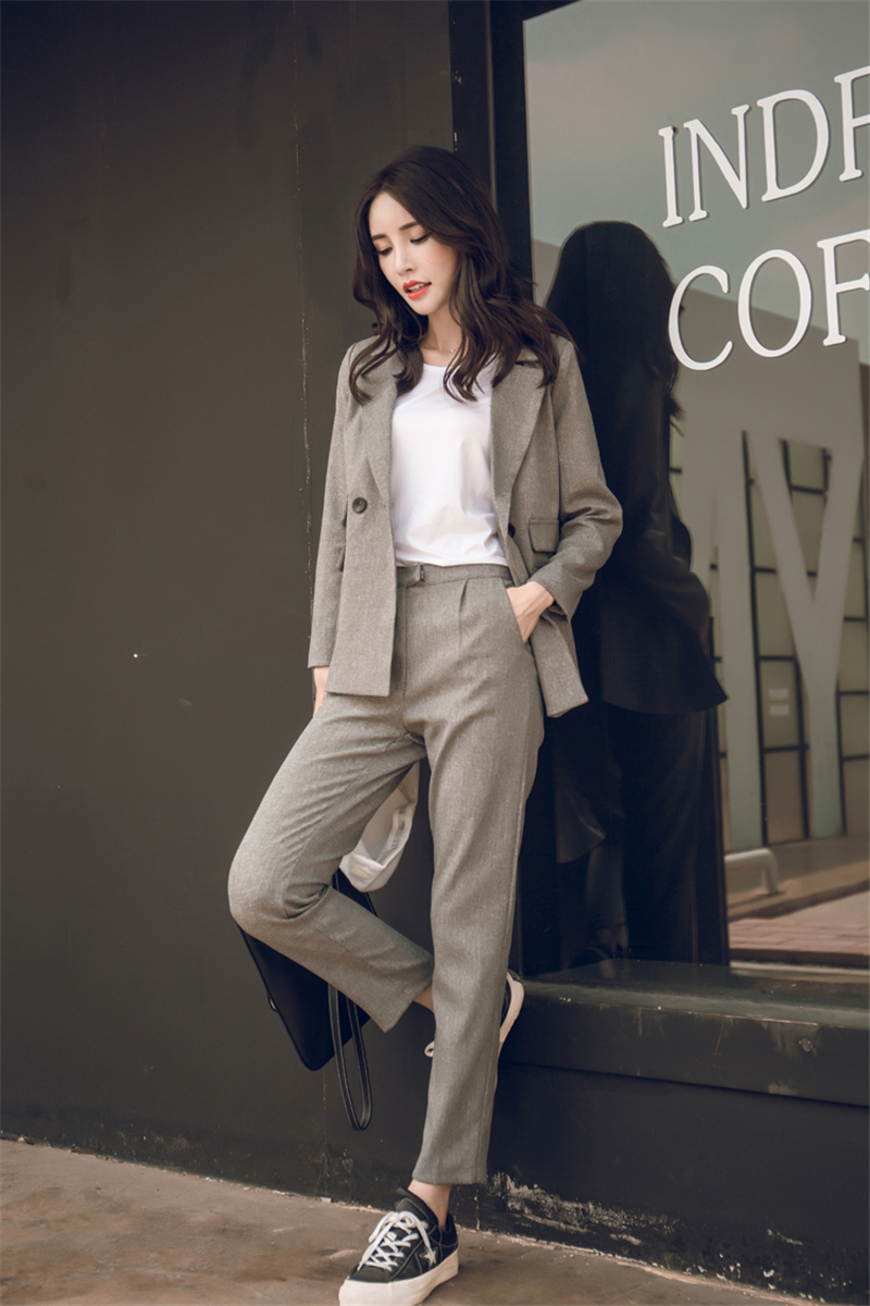 Two Piece Sets Short Gray Solid Blazer + High Waist Pant Office Lady
