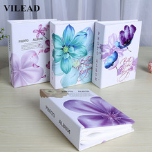 VILEAD 4D 6 inch Vintage Flower Pattern Photo Album Book 100 Page Photo Image Album Scrapbook Binder Photo Storage Case Family(China)