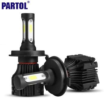 Partol S5 H4 H7 H11 H1 9005 9006 H3 9007 COB LED Phare 72 W 8000LM Tous dans une Voiture LED Phares Ampoule Brouillard Lumière 6500 K 12 V 24 V