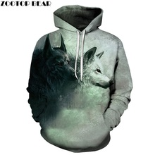 Wolf Printed Hoodies 3D Brand Men Sweatshirts Male Hooded Tracksuits Pocket Jackets Animal Hoodie Autumn Novelty Streetwear Coat