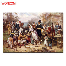 Americans And Indians Harmonious Canvas Painting Poster Vintage Wall Christmas Canvas Pictures For Home Decor Christmas Gift