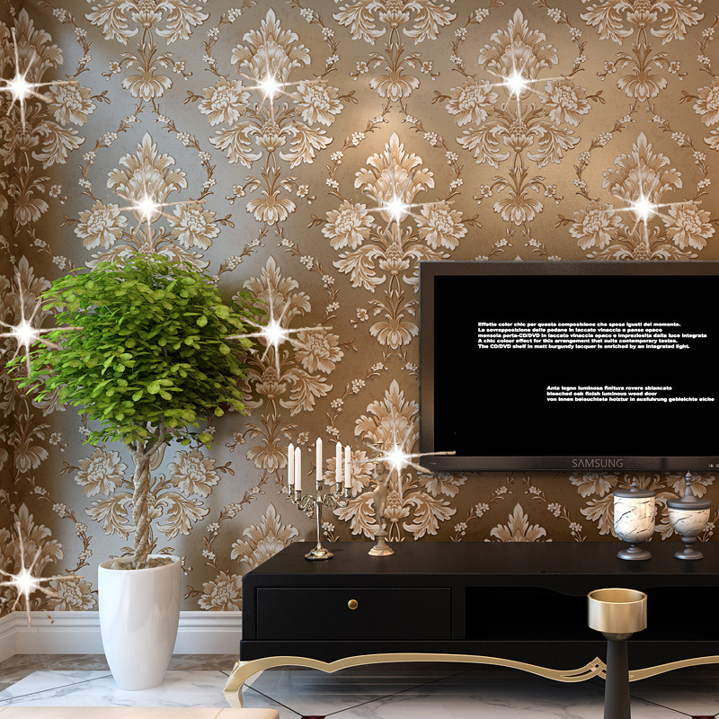 Manufacturers selling European non-woven wallpaper 3 d sitting room warm bedroom full shop sofa TV setting wall paper<br>