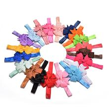 20pcs/lot Girl Hair Bow Headband DIY Grosgrain Ribbon Bow Elastic Hair Bands For Newborn Hair Accessories