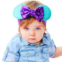 Fashion Mickey Head wrap,Newborn Mickey Mouse bow Knit headband, 20*7cm,Hair Accessories  Big Bow Knot Mickey Headband KT063