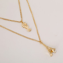 2017 New Arrival 2 in 1 Gold Fashion Metal Eiffel Tower Sea Horse Pendant Necklace Necklet Neck Lace Evening Dress Women Gift