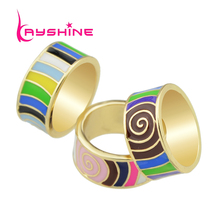 Boho Style Ethnic Rings High Quality Jewelry Colorful Enamel Stripe Pattern Round Finger Rings Female