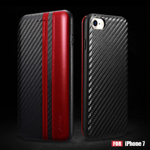 XOOMZ for iPhone 7 Case Cover Contrast Color Carbon Fiber Fabric Card Holder Cell Phone Accessory Casing - Red