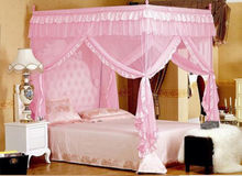 4 Corners Post Bed Curtain Canopy Mosquito Net Twin-XL Full Queen Cal King Size  No Bracket
