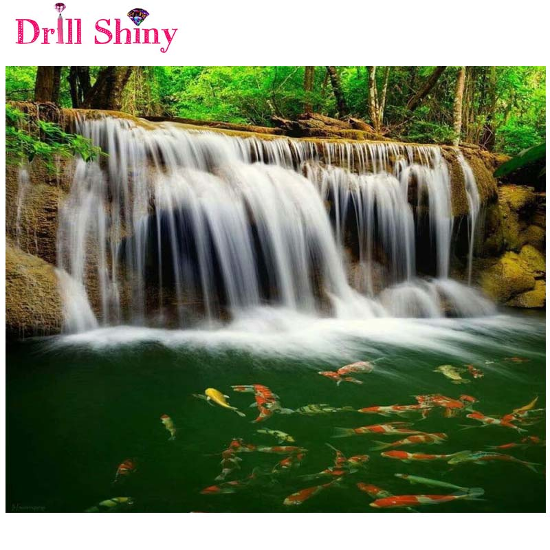 Diamond Embroidery Nature 5D Diy Diamond Painting Pictures Of Crystals Waterfalls And Fish Pictures Mosaic decor wall painting(China (Mainland))