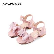Cctwins Kids 2018 Summer Girl moda princesa rhinestone tacón alto niños pu  zapatos de cuero bebé mariposa sandalia negro BP024 6cb15f2ab41f
