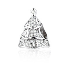 Real 925 Sterling Silver Twinkling Christmas Tree, Clear CZ Charm Fit Pandora Bracelet Necklace DIY Jewelry Making New Year Gift