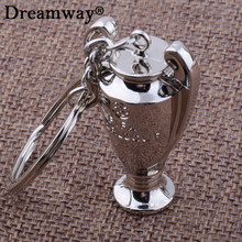 2017 Europe football trophy Key chain Zinc Alloy Keychain Metal trophy model Pendant Key ring european cup souvenir gift