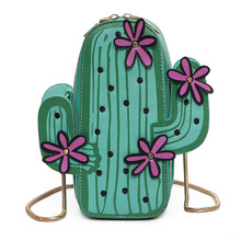 Cute Green Cactus Flower Shoulder Bag Lady Casual Korean Chain Handbags Women Small Leather Messenger Bags