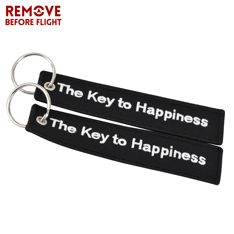 The Key to Happiness Key Chain Bijoux Keychain for Motorcycles and Cars Gifts Key Tag Embroidery Key Fobs OEM Key Ring Bijoux (9)