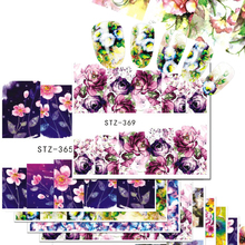 1 Sheet Nail Art Sticker Flowers Water Transfer Decals Charming Bloom Temporary Tattoos Nail Designs Full Wrap Tips STZ352-371
