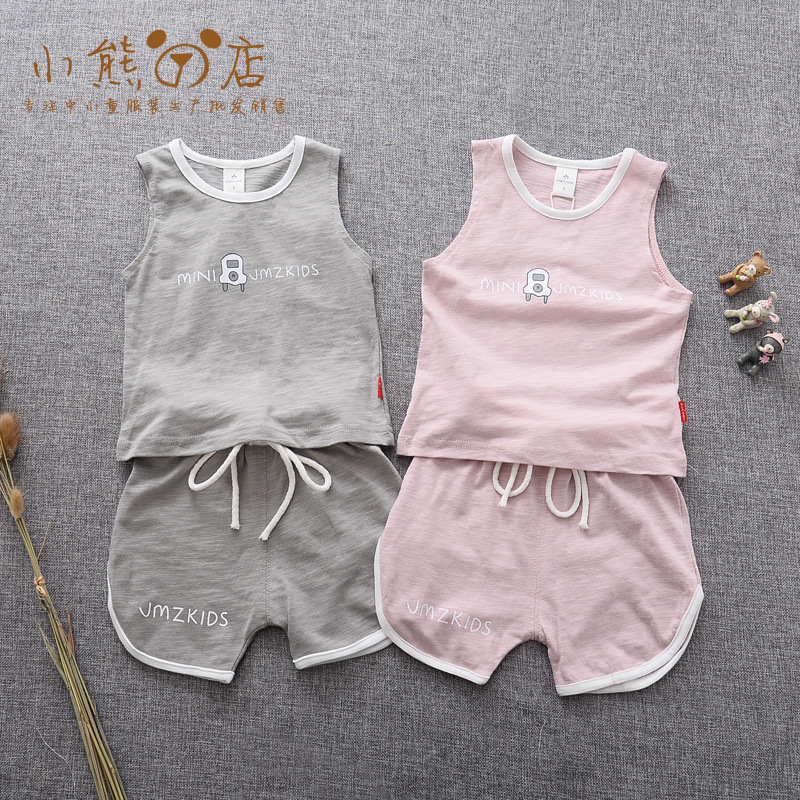 Han Edition Leisure Pure Color Virgin Suit Children Suit Summer New Cute Boy and Girl T-shirt Panty<br>