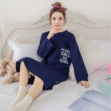 Summer Newest Women Cozy wearing loose Breathable printing Sleepshirts girl lively Lovely Long sleeve Knitted Cotton Nightgowns(China)