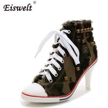 Buy EISWELT Women Canvas Shoes Denim Hhigh Heels Rivets Shoes Fashion Shoes High Heels Shoes for $29.24 in AliExpress store