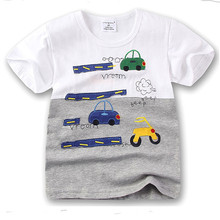 100% Cotton Jumpingbaby Brand Children Boys Summer T-Shirt For 1-6 Y Kids Child Short Sleeve Car Pattern Tops Tees Clothing(China)
