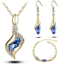 1Set Sales MODA Elegant Luxury Design New Fashion A Gold Filled Colorful Austrian Crystal Drop Jewelry Sets Women Gift