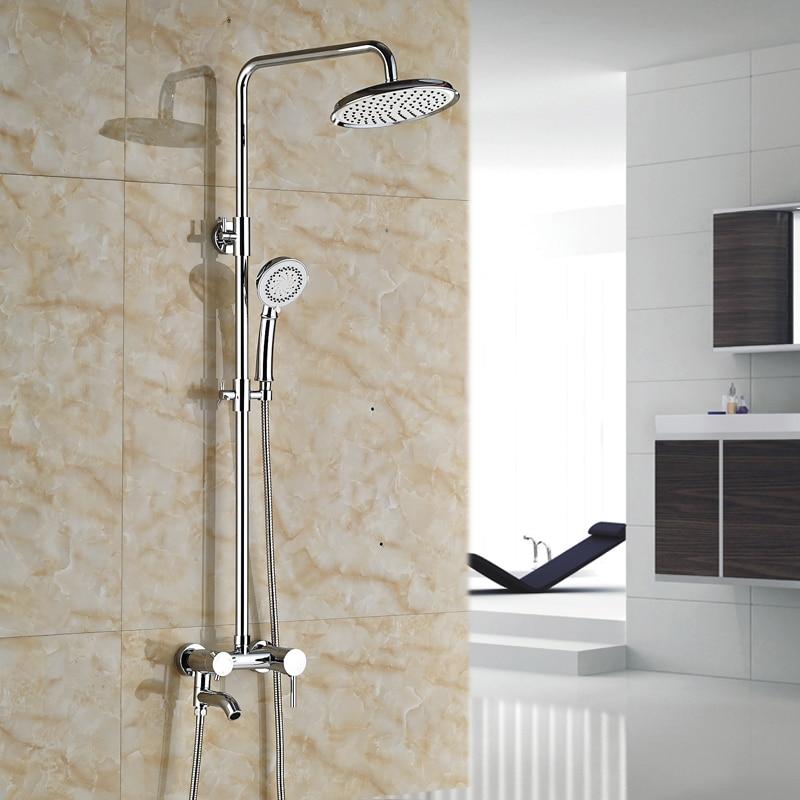 Luxury 8 Rainfall Bathroom Bath Shower Mixer Faucet Wall Mount Full Set Shower Faucet with Handshower<br><br>Aliexpress