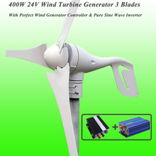 Great Discount 3 Blades 400W 24V Wind Turbine Generator With Perfect Wind Generator Controller & 600W Pure Sine Wave Inverter