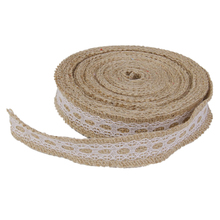 Hot 10m Hessian ribbon lace Trimmed Natural jute sack of ribbon wedding Rustic furniture(China)