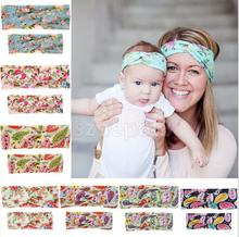 2pcs Mommy and Me Flower Headband Women Baby Girls Boho Headwrap Turban Twist Knot Hairband Hair Bow Set
