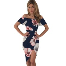 YSMARKET High low slit floral print ruffle off shoulder wrap club sexy summer boho dress 2017 mid calf dresses bodycon H61572