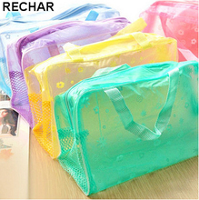 New Fashion Travel Women Cosmetic Bag PVC Floral Transparent Waterproof Portable Makeup Bag Toiletry Wash Pouch Organizer Bag