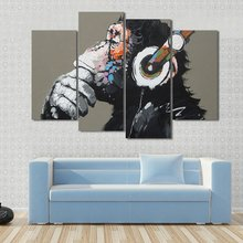 4 Pieces/sets Canvas Art 4 panels Thinking Gorilla Monkey Music Canvas Paintings Decoration For Home Wall Art Prints Canvas\A812